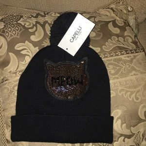 🐾  NWT Capelli New York MEOW knit Beanie Hat